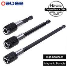 Oauee 1/4 Zoll Hex Schaft Quick Release Schraubendreher Magnetischen Bit Halter mit Einstellbare Kragen Verlängerung Bar 60mm 100mm 150mm