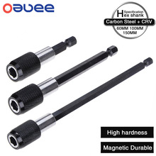 Oauee 1/4 Inch Hex Shank Quick Release Screwdriver Magnetic Bit Holder with Adjustable Collar Extension Bar 60mm 100mm 150mm