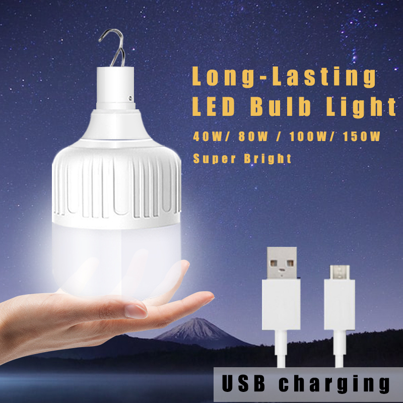 Lamp <font><b>Bulb</b></font> USB Camping Rechargeable <font><b>LED</b></font> <font><b>Bulb</b></font> Light 20W/40W/80W/100W/<font><b>150W</b></font> Waterproof with Clips Auto Dusk To Dawn Tent IP65 image