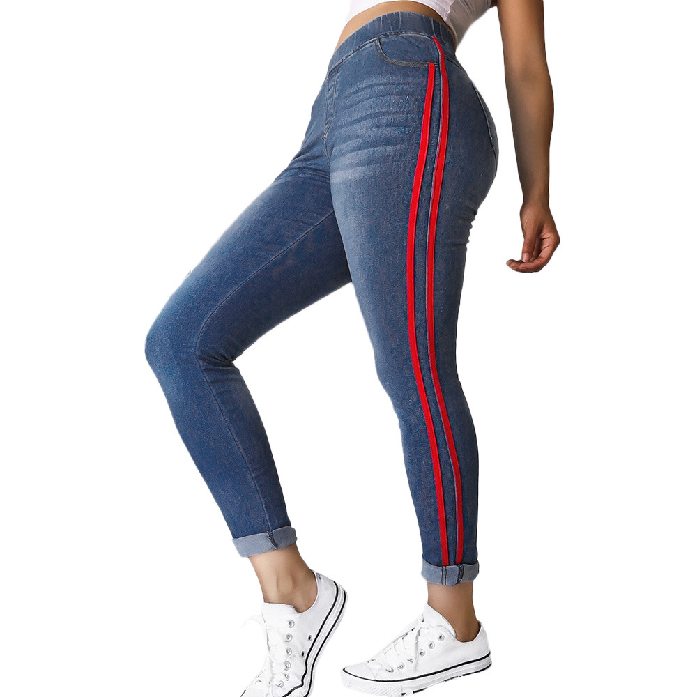 2020 Newest Women Autumn Elastic Plus Tight Feet Loose Denim Ribbon Casual Jeans Ladies Fashion Women Trousers