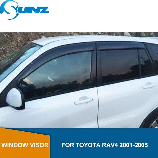 חלון מטה הטיה עבור טויוטה Rav4 2001 2002 2003 2004 2005 שחור חלון Visor Vent צל שמש גשם משמרות הטית SUNZ