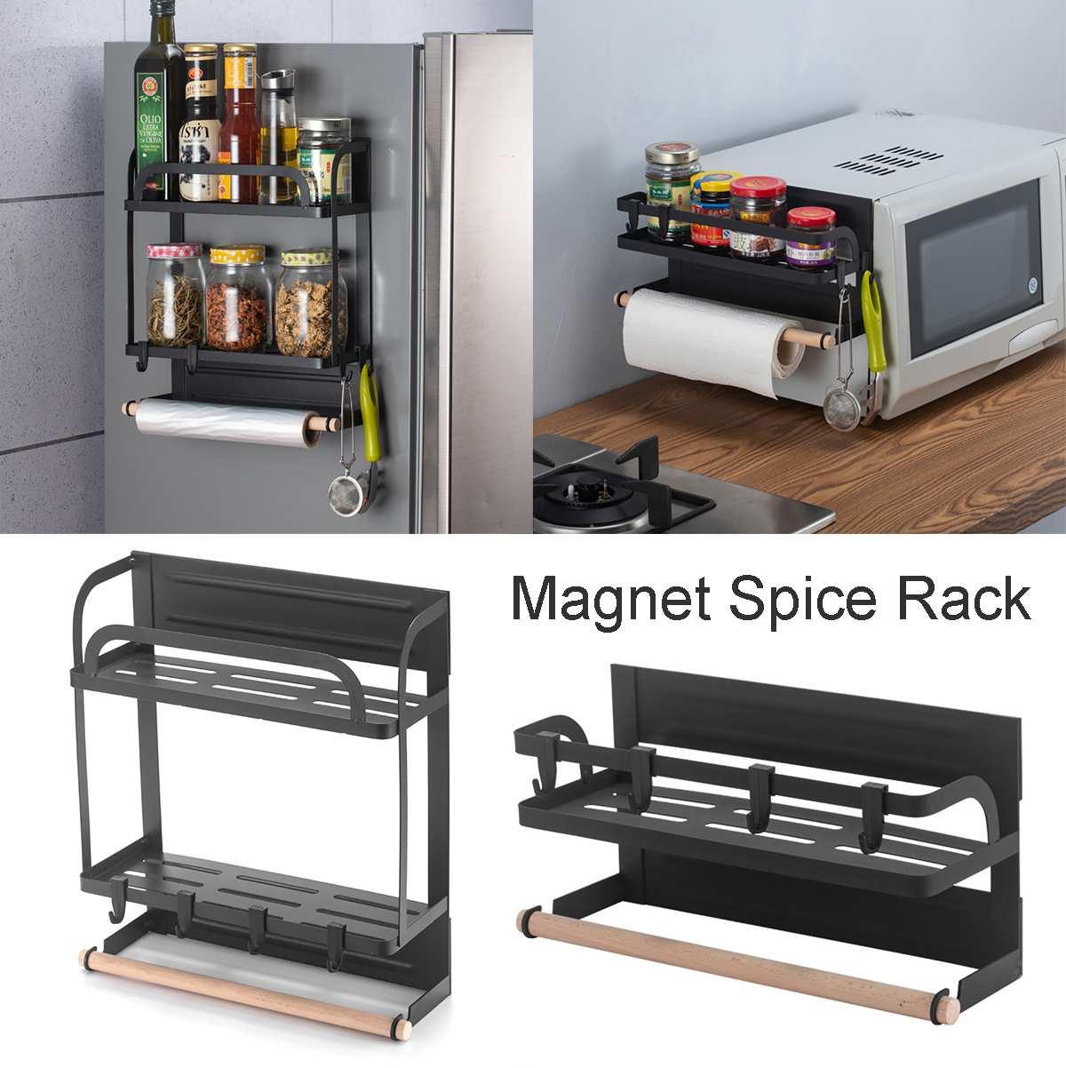 Estante lateral para nevera de adsorción magnética, soporte de almacenamiento de cocina multifunción montado en la pared, estante organizador de toallas de papel