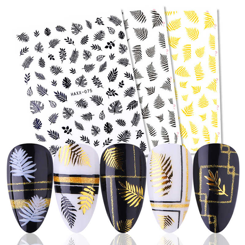 1Pc Marple Bladeren Nail Art 3D Stickers Herfst Balck/Goud Lijm 3D Sliders Sticker Manicuring Diy Decoraties Tips ontwerp