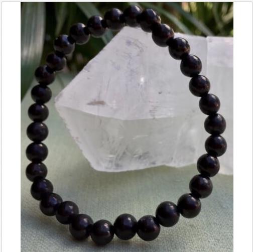 6 mm Shungite Bracelet Elite Shungite Bead Bracelet Stretchy Anti Radiation Heal|Stones| |  - title=