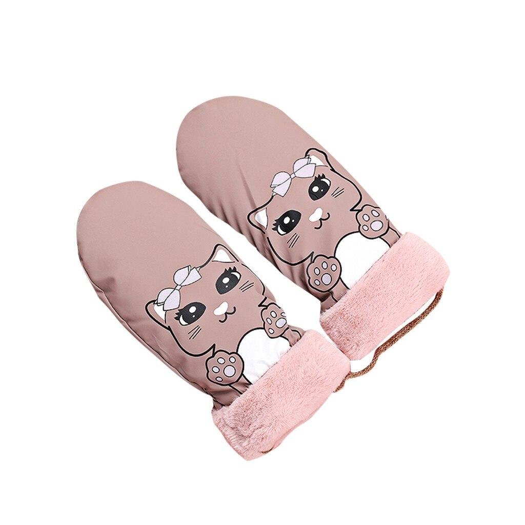 Зимние перчатки для катания на лыжах с мультяшным рисунком, ветрозащитные водонепроницаемые теплые варежки с кошачьим воротником, теплые перчатки - Цвет: as show