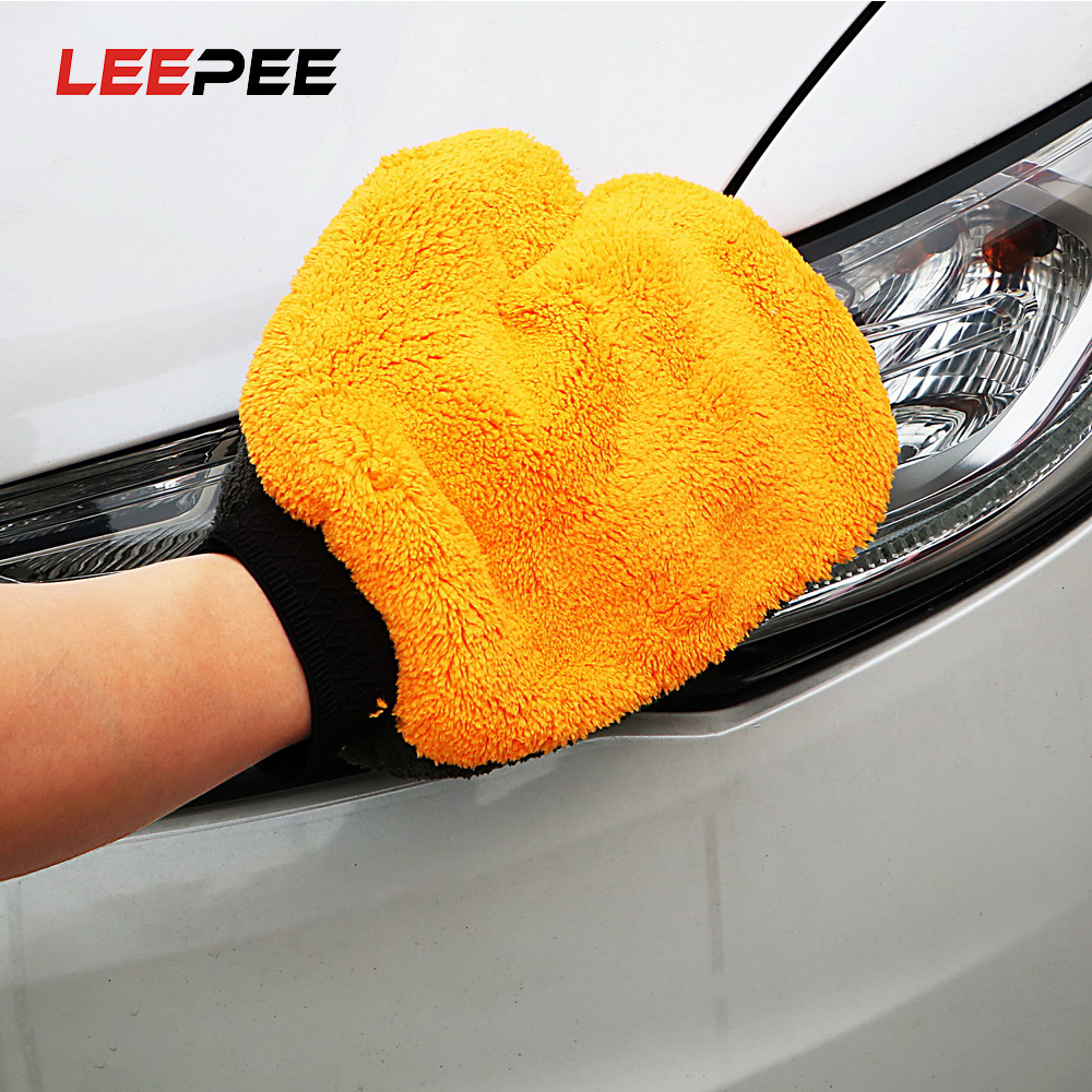 Car Cleaning Wash Tools Microfiber Washing Gloves Auto Care Water Absorption Car-styling Soft Plush Car Accessories Dust Cleaner