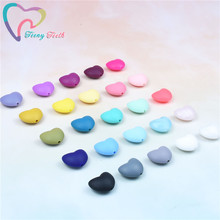 50 PCS Silicone Heart Teether Beads DIY Baby Shower Pacifier Teething Jewelry To