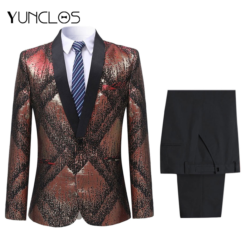 <font><b>Men's</b></font> <font><b>Green</b></font> Fruit Collar <font><b>Sequins</b></font> Casual Blazer 2 pieces (Jacket+Pant)Single Breasted Suit For Wedding &Party Slim Fit Coat image