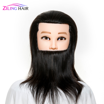 Male Mannequin hairdressing training head with 100 real human hair and beard manequin hair doll manikin head for barber 100% real hair mannequin head professional manikin head with human hair hairdressing mannequins hair styling head