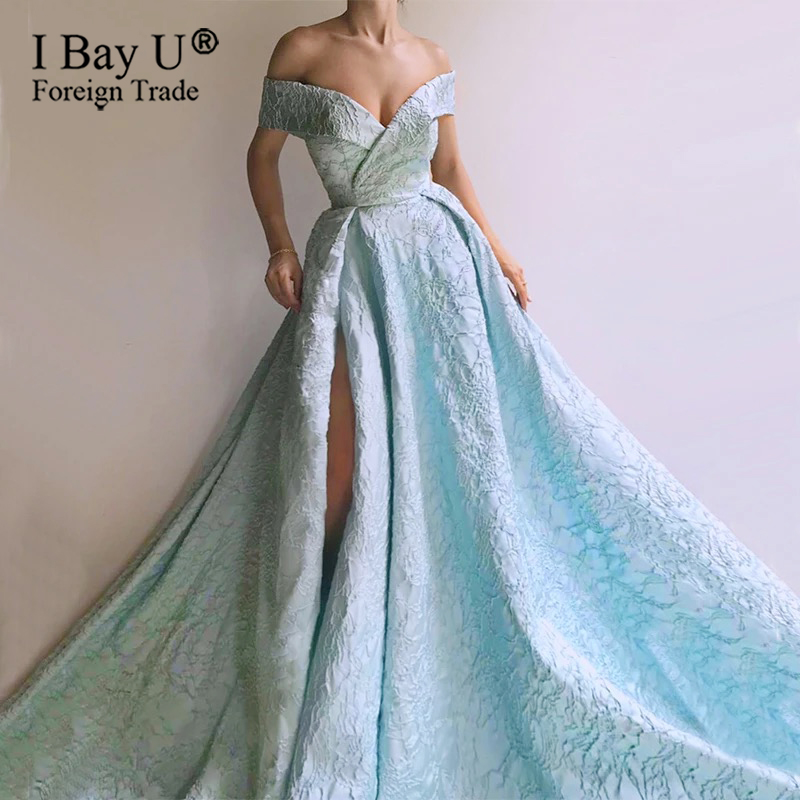 Long Evening Dress 2020 New Arrival One Shoulder Vintage Dubai 3D Satin Lace Arabic Style Blue Women Formal Evening Gowns
