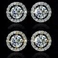 Роскошные женские серьги-гвоздики из белого циркона с кристаллами, круглые серьги, винтажные свадебные серьги для женщин