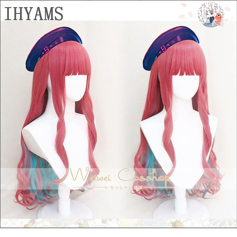 HIP HOP Paradox Live BAE Anne Faulkner Cosplay Wig 80cm Long Curly Pink Blue Mixed Synthetic Hair Halloween Party + Wig Cap