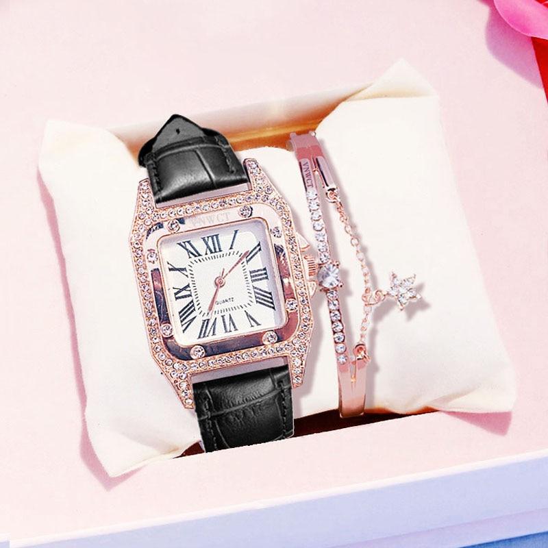 2020 New Ladies Watch Luxury Women Watch Rhinestone Square Watches Leather Quartz Wristwatch Female Clock Reloj Mujer Kol Saati