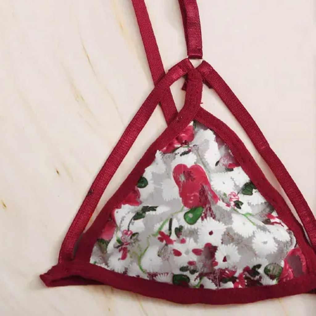 Niska cena strata ze sprzedaży moda damska dekolt w serek + stringi kwiat haftowany komplet bielizny bielizna S-2XL sukienka na seks piękna