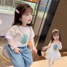 Вязаная Кружевная футболка для девочек с вырезами длинным рукавом