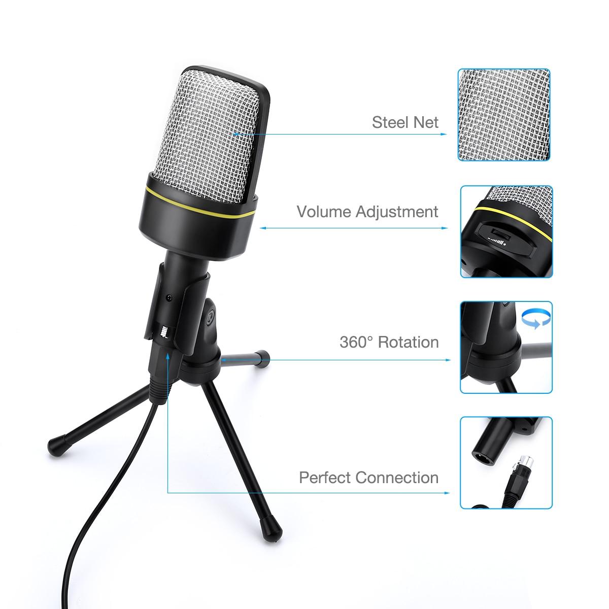 Gravação de estúdio profissional microfone condensador karaoke microfone com suporte para transmissão ao vivo youtube computador portátil pc