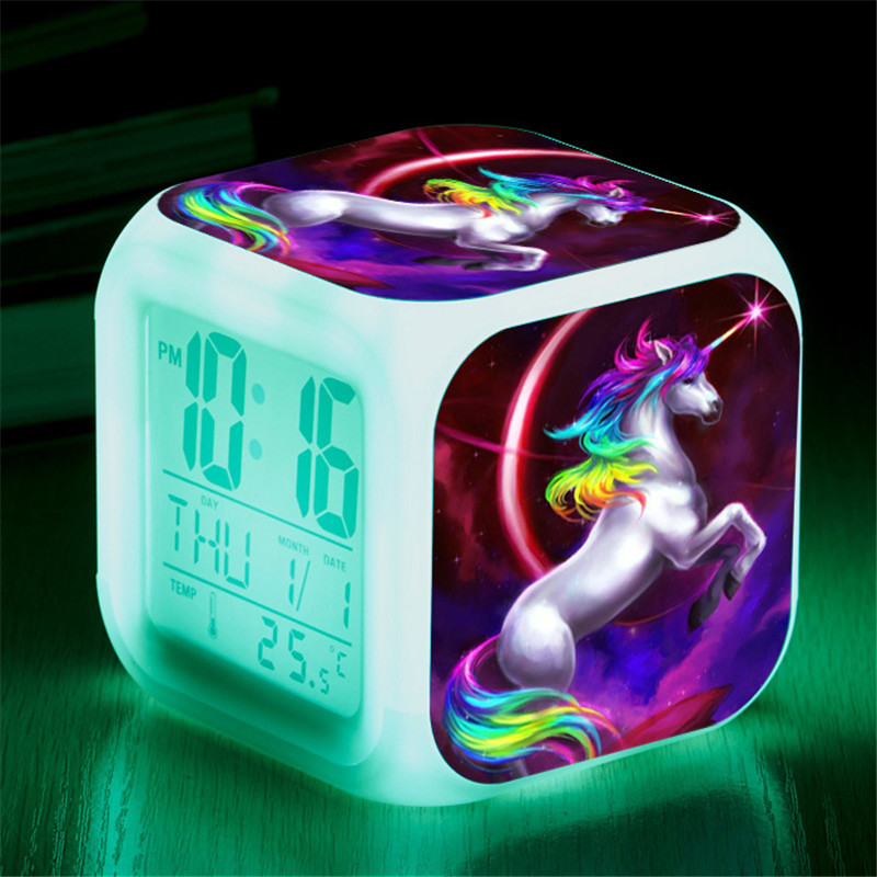 Kids Cute Cartoon Unicorn Alarm Clock 7 Colors Changing Night Light Led Digital Alarm Clocks Student Desk Clock with Thermometer
