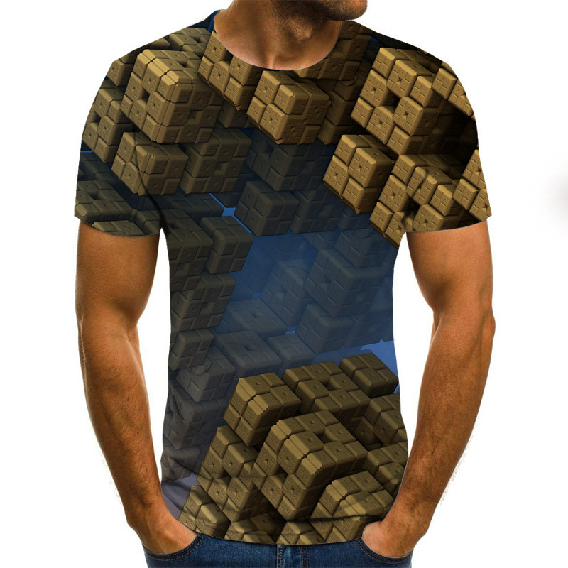 3d Geometric T shirts Men Plaid <font><b>Tshirt</b></font> Summer Cube Print Tops Tees 3d Colorful Clothing Hip Hop Streetwear <font><b>Funny</b></font> <font><b>Tshirt</b></font> image