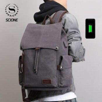 цена на Fashion Large Capacity Canvas Backpacks Men Backpack Travel Shoulder Bag Vintage Male Student School Bag Laptop Backpack Solid