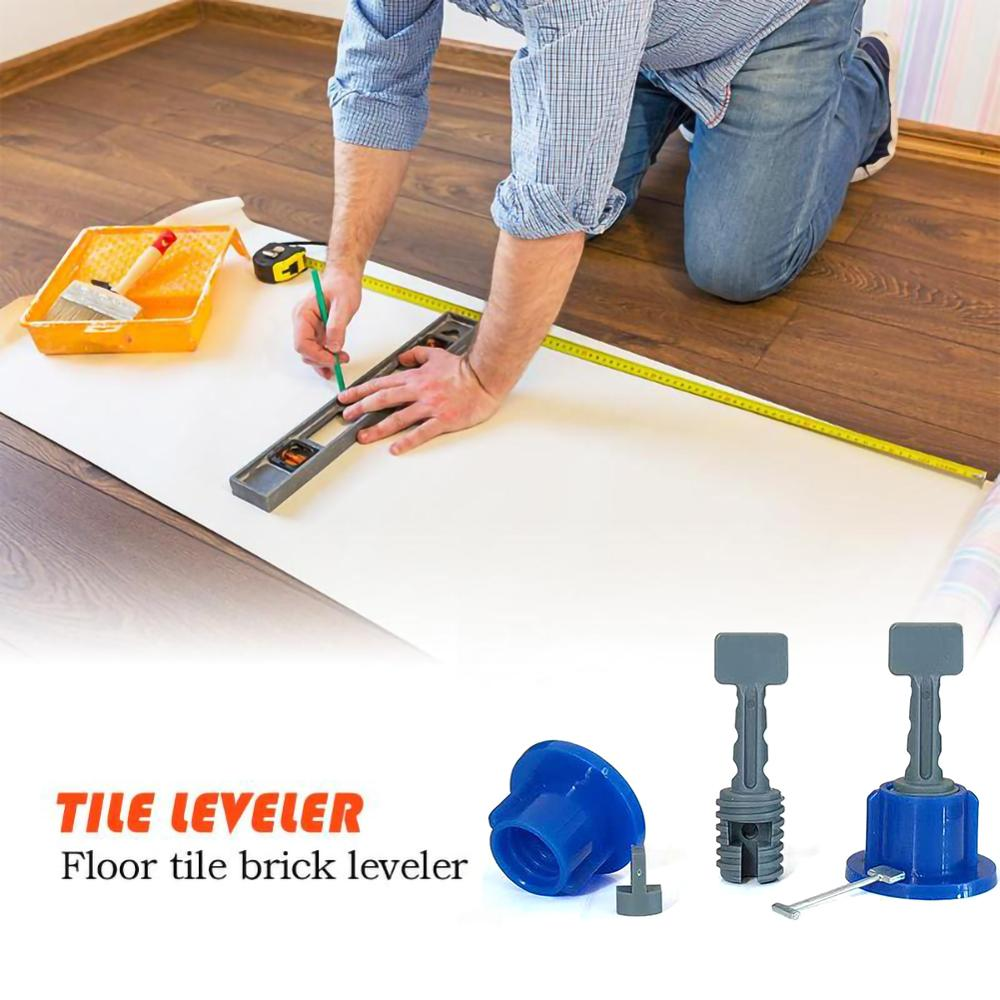 50Pcs Flat Ceramic Floor Wall Construction Tools Reusable Tile Level Wedges Tile Spacers Kit Tile Leveling System Kit For Tile