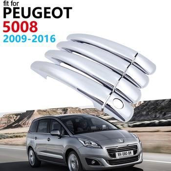 Manija de la puerta de coche accesorios para Peugeot 5008 Peugeot 2008 ~ 2016 lujosa moldura de cubierta de manija cromada conjunto de pegatinas de coches 2015, 2014, 2013, 2012