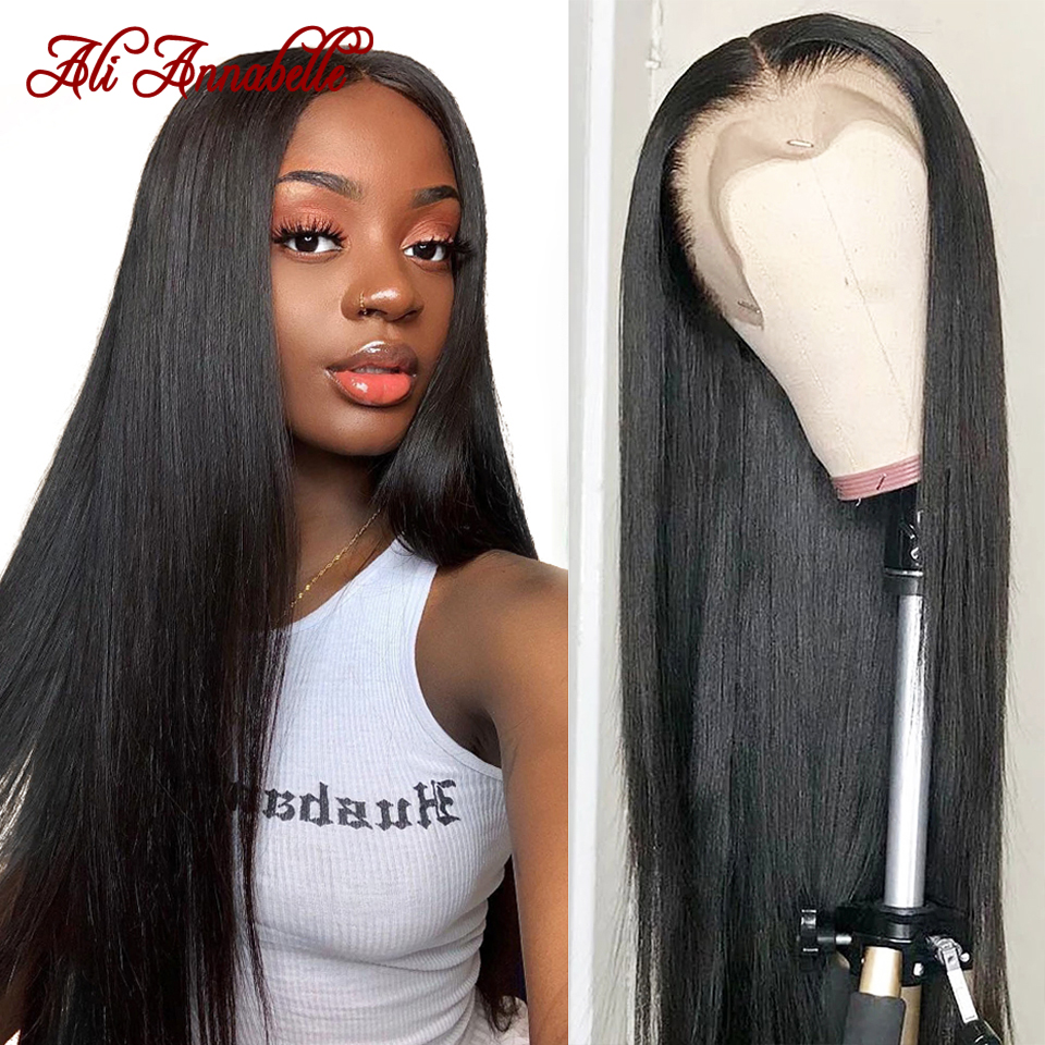 Ali Annabelle Brazilian Straight Lace Front Human Hair Wigs 13x4 Lace Frontal Wigs Preplucked Hairline 4x4 5x5 Lace Closure Wigs