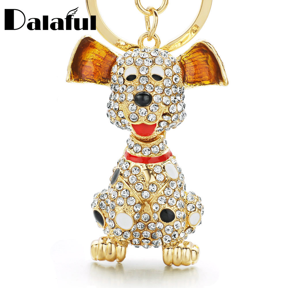 Dalaful Dalmatian Dog Crystal HandBag Pendant Keyrings Keychains For Car Rhinestone Key Chains Holder Women K309