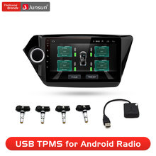 Junsun-sistema de supervisión de presión de neumáticos, sistema de alarma de navegación TPMS Android con 4 sensores internos para Radio de coche, reproductor de DVD