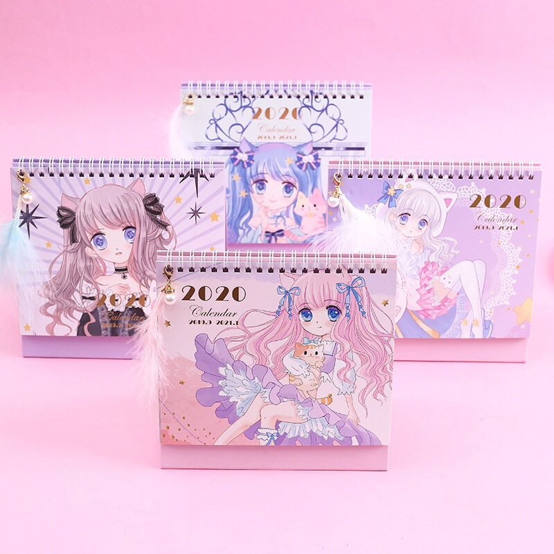 2020 Lovely Cat And Girl Desk Calendar DIY Cartoon Character Coil Calendars Daily Schedule Planner 2019.09-2020.12