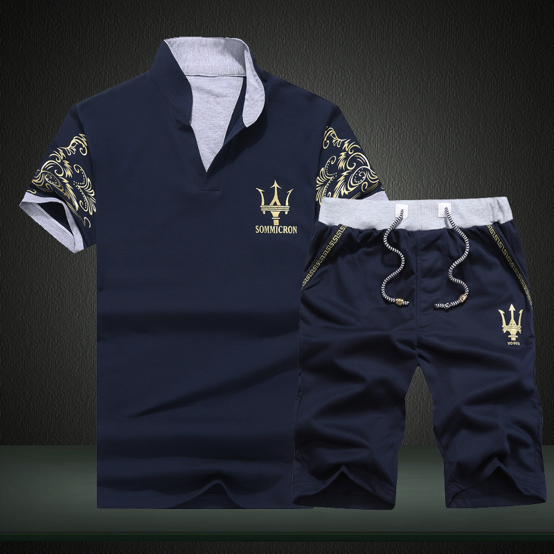 Summer Men Sportsuits Set Mens Stand Collar Fashion 2 Pieces T-shirt Shorts Printing Tracksuit Brand Fitness Suits 2PC Top Short