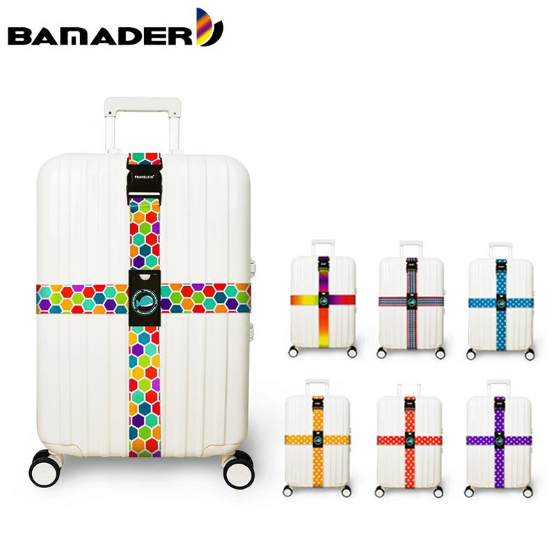 Luggage Strap Cross Belt Adjustable No Password Lock Travel Suitcase Band Travel Luggage Cross Luggage Strap Travel Accessories