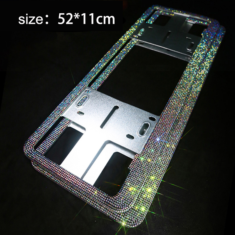 Russian License Plate Frame Handmade Sparkly Bling Colorful Rhinestone Stainless Steel Metal Crystal Diamond Car Frames