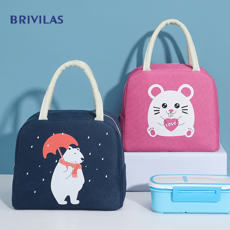 Brivilas Ctue Cartoon Lunch Bag For Women New Pink Panda Girl Hand Cooler Bags Portable Thermal School Breakfast Picnic Food Box