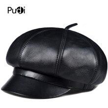 лучшая цена Pudi  Man real sheep leather cap hat beret  womens hats fashionable fall hats octagonal caps HL903