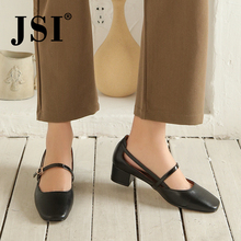 JSI Brand Pumps women black genuine leather upper shoes Mary Janes back strap hollow design low square heel JO514