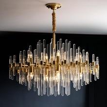 Modern LED kristal avize Nordic bakır avize oturma odası için basit yemek odası lamba lüks villa dekorasyon lambası