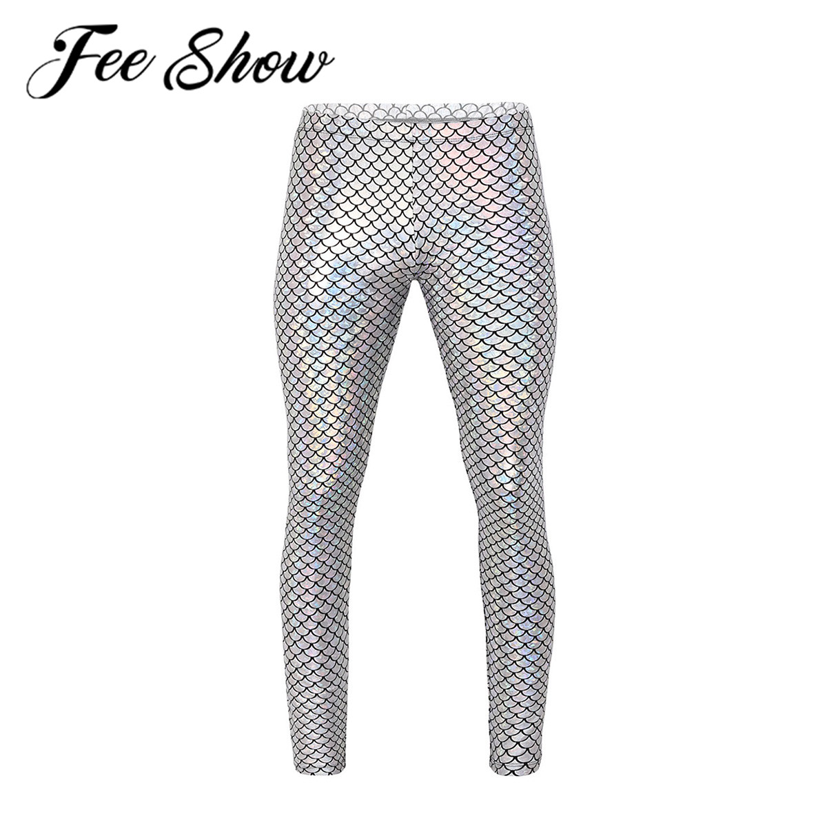 Men Pants Adults Man Shiny Mermaid Fish Scale Print Mid Rise Elastic Waistband Skinny Leggings Tights For Music Festival Costume