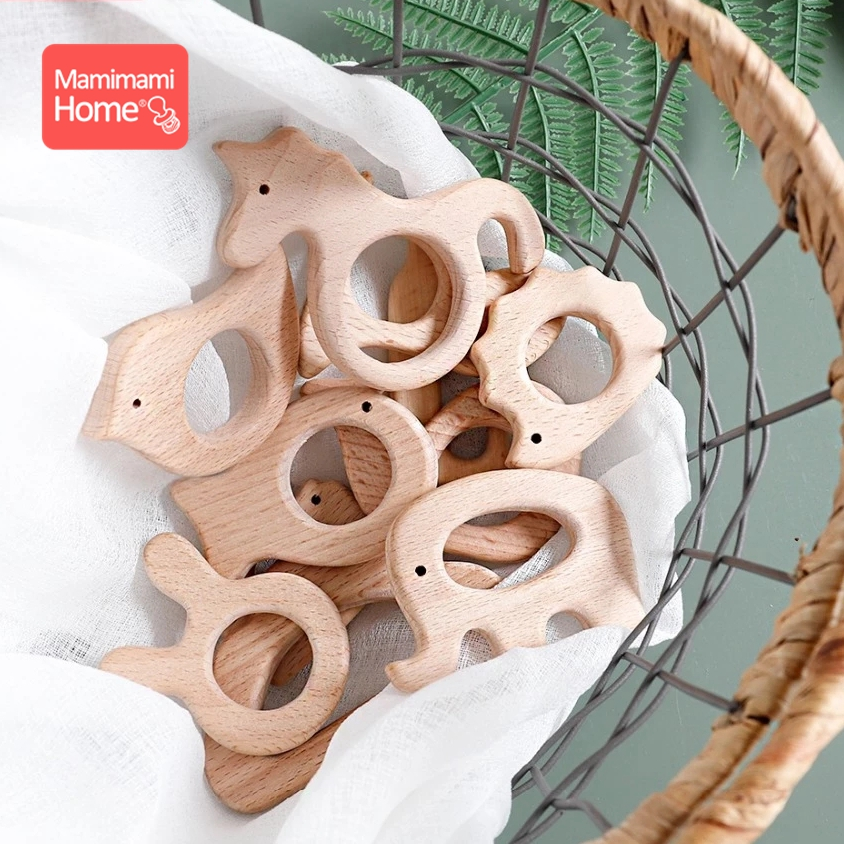 1pc Wooden Teether Wood Pendant For Pacifier Chain Baby Products Animal Wooden Blank Rodent Baby Teethers Birth Nurse Gifts Toys