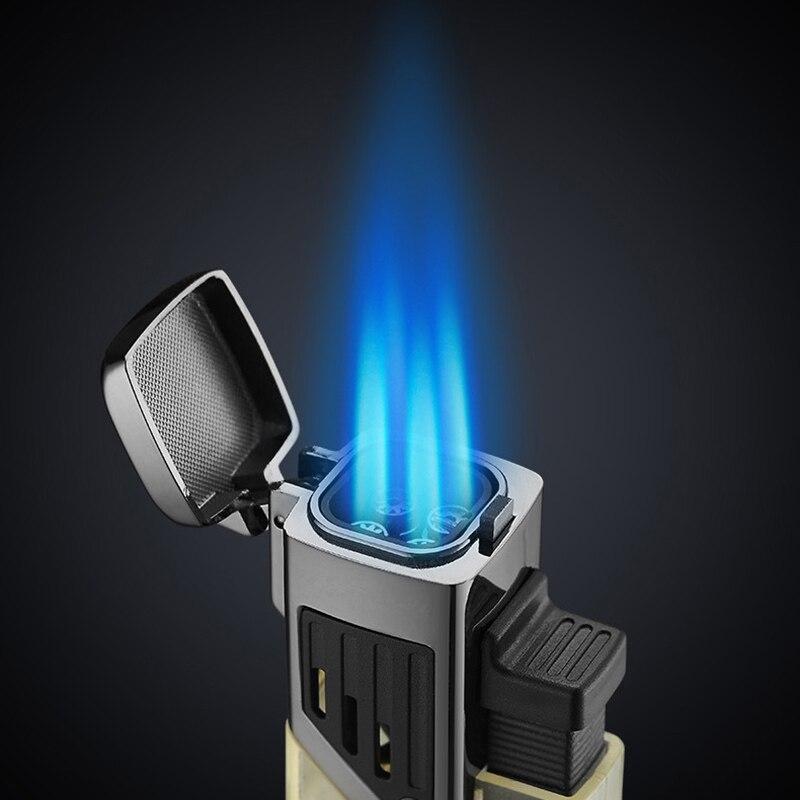 Зажигалка-фонарь ветрозащитная высокомощная струйная зажигалка с распылителем видимая газовая Бутановая Зажигалка для сигар мужские гадж...