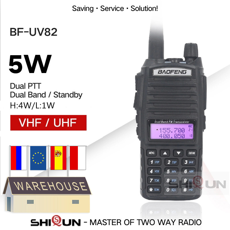 Origina BaoFeng UV-82 5W Baofeng UV 82 Walkie Talkie Dual Band UHF VHF Dual PTT Two Way Radio Long Range 5W Ham Radios BF-UV82