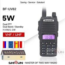 Origina BaoFeng UV 82 5W Baofeng UV 82 Walkie Talkie Dual Band UHF VHF Dual PTT Two Way Radio Long Range 5W Ham Radios BF UV82