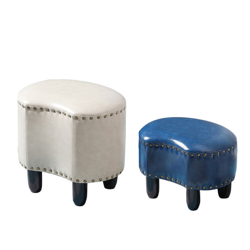 American wooden leather stool sofa stool household living room tea table bench fitting room stool fashion ideas kids furniture