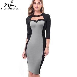 Image 1 - נחמד לנצח בציר ניגודיות צבע טלאים עבודת vestidos הולו מתוך O צוואר המפלגה עסקי Bodycon משרד נשים שמלת B482