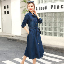 Fashion Slim Single Breasted Midi Denim Dress Street Long Sleeve Cowboy Dress Top Quality Spring Lace Up Office A-Line Dress(China)