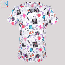 Women crubs nursing scrubs top women scrubs uniforms nurse uniformes clinic uniform in 100% cotton scrub top