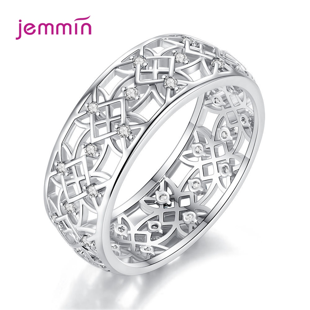 Bague Hollow Multicolor Cubic Zirconia Ring 925 Sterling Silver Rings For Women Fashion Popular Rhinestone Wedding Jewelry Femme