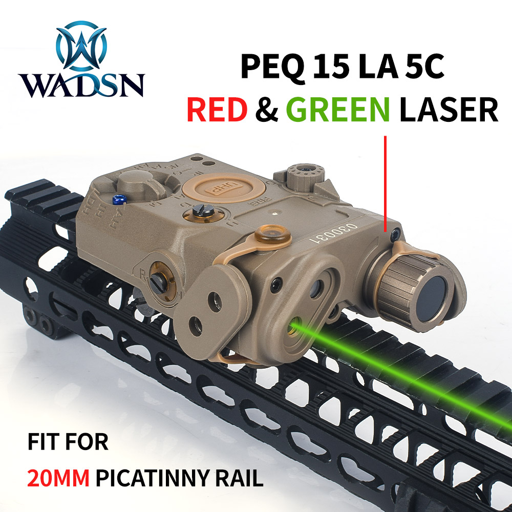 WADSN Airsoft LA5C PEQ 15 Red Green Dot Laser Sight Tactical PEQ Lazer Hunting Weapon Light Softair Accessory Fit 20mm Picatinny