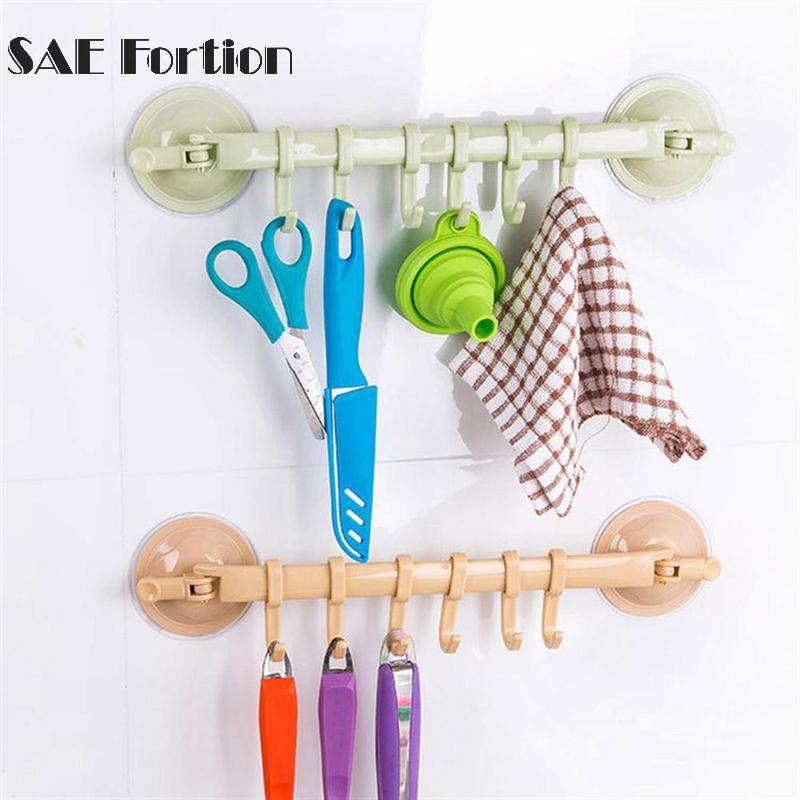 T Suction Cup Rotating Towel Rack 6-link Rack Multi-function Towel Rack Bathroom Rod Towel Kitchen Holder Cabinet Door
