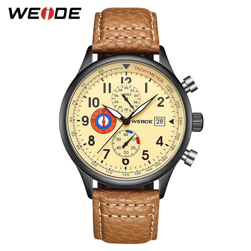 WEIDE Men Watch Relogio Masculino Analog Military Watch Army Date Leather Strap Dial Clock Quartz Watch Wristwatch Men's Watches