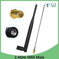 אנטנה 5dbi rp sma 2.4G 2.4GHz wifi אנטנה 5dBi SMA מחבר זכר עבור נתב Wi Fi Booster + 21cm RP-SMA ל- ufl./ IPX 1.13 בכבלים צמה (1)